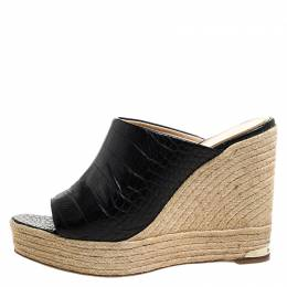 Paloma Barcelo Black Croc Embossed Leather Espadrille Wedge Sandals Size 40 261086