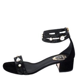 Rene Caovilla Black Suede Crystal And Pearl Embellished Block Heel Sandals Size 38