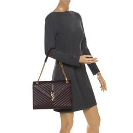 Saint Laurent Burgundy Leather Monogram Envelope Shoulder Bag