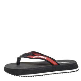 Dsquared2 Black/Red Nylon Thong Flip Flop Sandals Size 41 258861