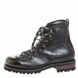 Dsquared2 Black/Green Leather And Sherpa Trim Lace Up Ankle Boots Size 41