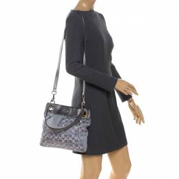 Coach Grey Signature Satin and Leather Top Handle Bag 260928
