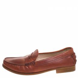 Tod's Brown Leather Penny Slip On Loafers Size 40 259222
