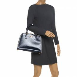 Prada Navy Blue Saffiano Lux Patent Leather Frame Top Handle Bag 260328