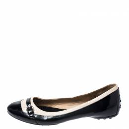 Tod's Black/White Patent Leather And Leather Buckle Detail Ballet Flats Size 40 Tod's 258780