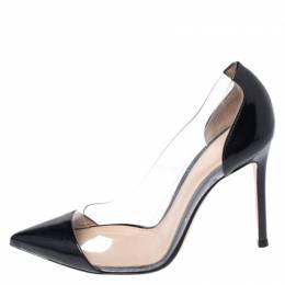 Gianvito Rossi Black Patent Leather And PVC Plexi Pointed Toe Pumps Size 36 260776
