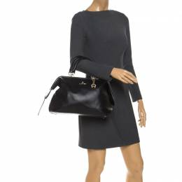 Aigner Black Leather Boston Bag 260777