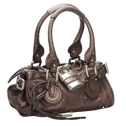 Chloe Black/Gold Tone Leather Paddington Bag