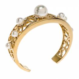 Aigner Crystal Faux Pearl Gold Tone Open Cuff Bracelet 259361