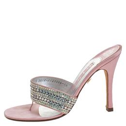 Gina Pink Satin Crystal Embellished Thong Sandals Size 38.5 259367