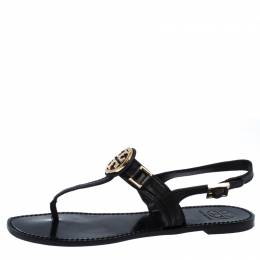 Tory Burch Black Leather Logo Detail Thong Slingback Sandals Size 39.5 259157