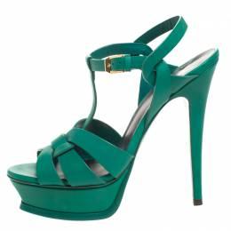 Saint Laurent Green Leather Tribute Platform Ankle Strap Sandals Size 37 258798