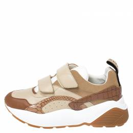 Stella McCartney Beige/Brown Fabric And Faux Leather Eclypse Velcro Sneakers Size 40 261182