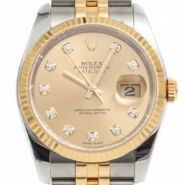 Rolex Champaign Diamond Dial Datejust Steel & Yellow Gold Watch 36MM