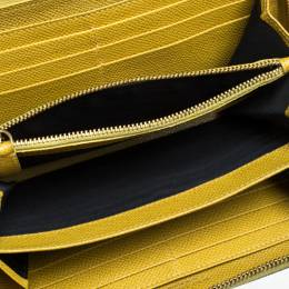 Dolce&Gabbana Paglia Yellow Leather Strappy Zip Around Wallet