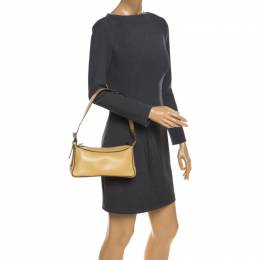 Bally Light Yellow Leather Zip Shoulder Bag 259114