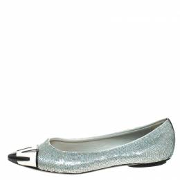 Louis Vuitton Blue Sequin Embellished Satin And 2 Tone Patent Pointed Toe Ballet Flats Size 36 259115
