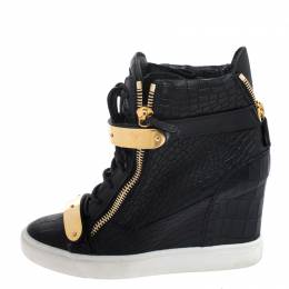 Giuseppe Zanotti Design Black Croc Embossed Leather Lorenz Wedge High Top Sneakers Size 39 260763
