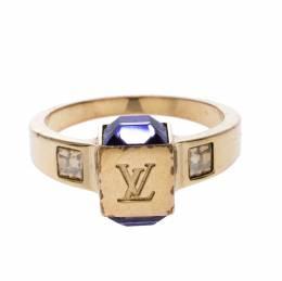 Louis Vuitton Gamble Crystal Gold Tone Ring Size EU 54 261164