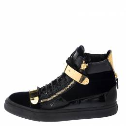 Giuseppe Zanotti Design Black Velvet and Leather Coby High Top Sneakers Size 45