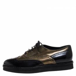 Tod's Black/Gold Brogue Leather Lace Up Oxford Size 39.5 260922