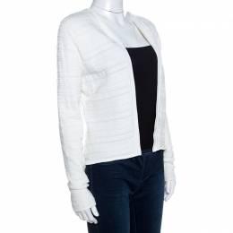Ralph Lauren White Textured Knit Open Front Cardigan M 258818