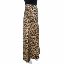 Roberto Cavalli Brown Leopard Print Cotton Maxi Skirt M 259149