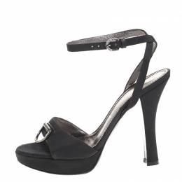 Casadei Black Grosgrain Fabric Crystal Embellished Platform Ankle Strap Sandals Size 37 259148