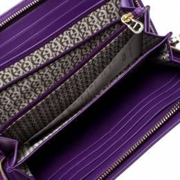 Aigner Purple Monogram Embossed Leather Cavallina Zip Around Wallet 261191