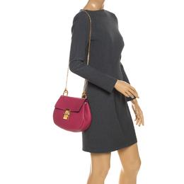 Chloe Fuschia Leather Medium Drew Shoulder Bag
