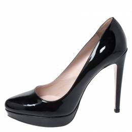 Miu Miu Black Patent Leather Platform Pumps Size 39 260802