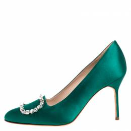 Manolo Blahnik Green Crystal Embellished Satin Olek Pumps Size 37 260578