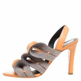 Balenciaga Light Orange/Grey Ruffle Leather and Lizard Embossed Sling Back Sandals Size 36 260575