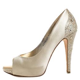 Gina Gold Crystal Embellished Satin Jenna Peep Toe Platform Pumps Size 38 260572