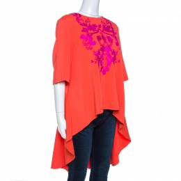 Oscar De La Renta Orange Crepe Floral Applique Detail Tunic XL 260715