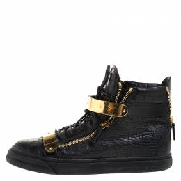 Giuseppe Zanotti Design Black/Gold Croc Embossed Leather High Top Lace Up Sneakers Size 45