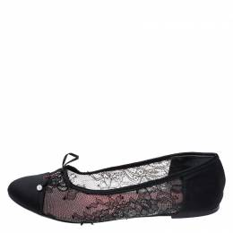 Carolina Herrera Black Lace And Satin Bow Ballet Flats Size 35 Ch Carolina Herrera 259356