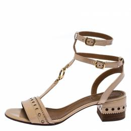 Chloe Beige Brogues Patent Leather Perry T Strap Sandals Size 38 259594