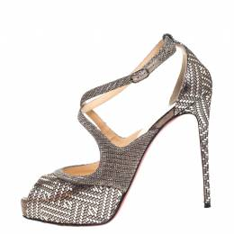 Christian Louboutin Silver Foil Leather And Glitter Fabric Mira Bella Cross Strap Sandals Size 37.5 259599