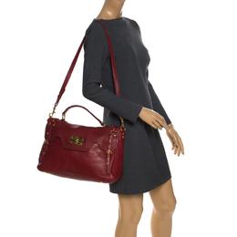 Miu Miu Red Leather East/West Top Handle Shoulder Bag 259777