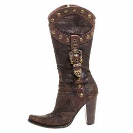 Loriblu Dark Brown Embossed Leather Studded Buckle Knee Boots Size 38.5 260568