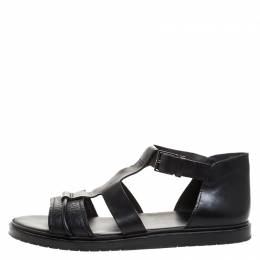 Dior Black Leather Open Toe Gladiator Flat Sandals Size 42.5