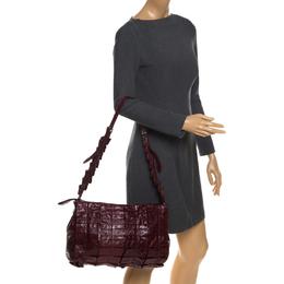 Miu Miu Burgundy Glossy Ruffled Leather Shoulder Bag 259342