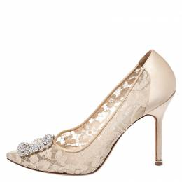 Manolo Blahnik Beige Lace and Satin Hangisi Pointed Toe Pumps Size 39.5 259349