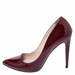 Miu Miu Burgundy Patent Leather Pointed Toe Pumps Size 38 259585