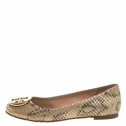 Tory Burch Multicolor Gilded Roccia Embossed Leather Reva Ballet Flats Size 36