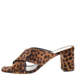 Saint Laurent Brown/Black Leopard Print Calfhair LouLou Crisscross Sandals Size 37.5 260823