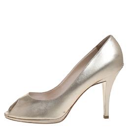 Dior Metallic Gold Leather Peep Toe Pumps Size 39 259160