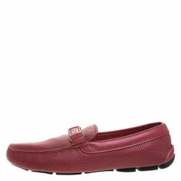 Prada Red Perforated Leather Slip On Loafers Size 43.5 259163