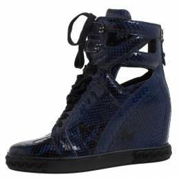 Casadei Blue/Black Python Embossed Leather Wedge Cut Out Chain Motif Buckle Ankle Boots Size 39 260955